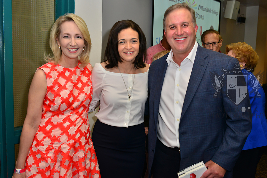 MIAMI, FL - JUNE 28: Shannon Robertson, Sheryl Sandberg and Johnathan Robertson attends her new book signing  'Option B: Facing Adversity, Building Resilience and Finding Joy' Presented in collaboration with Miami Book Fair and Books and Books at Miami Dade College Wolfson-Chapman Conference Center on June 28, 2017 in Miami, Florida. ( Photo by Johnny Louis / jlnphotography.com )