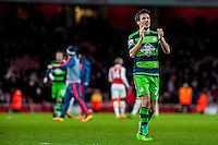 Jack Cork of Swansea City   celebrates after final whistle at the Barclays Premier League match between Arsenal and Swansea City at the Emirates Stadium, London, UK, Wednesday 02 March 2016