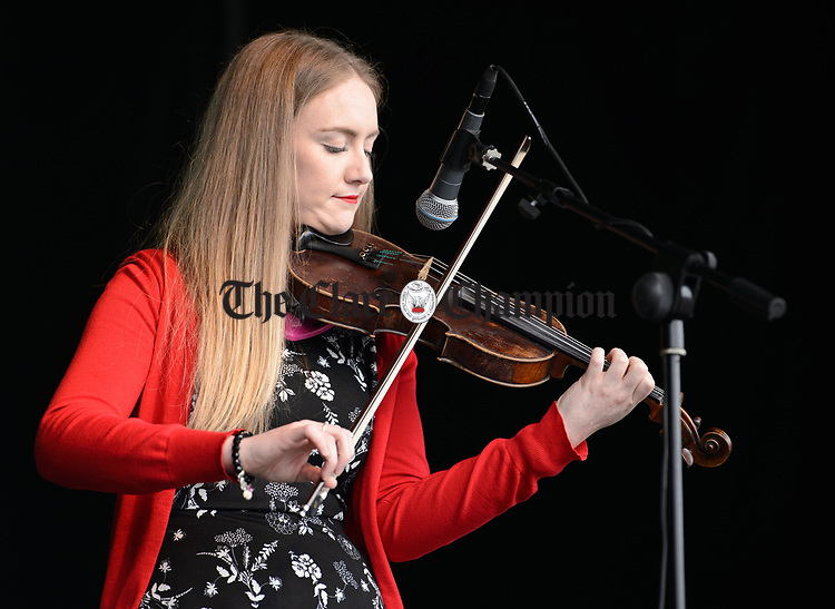 Ruan's Emer Arkins performing at the official opening of the All-Ireland Fleadh 2017 in Ennis. Photograph by John Kelly.