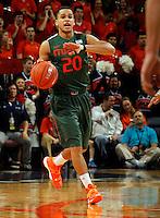 Miami guard Manu Lecomte (20) during an NCAA basketball game Saturday Feb, 24, 2014 in Charlottesville, VA. Virginia defeated Miami 65-40.