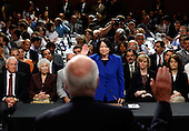 Washington, DC - July 13, 2009 -- United States Supreme Court nominee Judge Sonia Sotomayor is sworn in by U.S. Senator Patrick Leahy (Democrat of Vermont) on the first day of confirmation hearings before the U.S. Senate Judiciary Committee on Capitol Hill in Washington on July 13, 2009. .Credit: Win McNamee - Pool via CNP