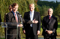 Oct. 04, 2011 - Charlottesville, VA. USA; Virginia Governor Bob McDonnell speaks in front of Donald Trump, 2nd from right, and Bill Moses, right. during a press conference announcing the grand opening of Trump Vineyard Estates Tuesday in Charlottesville, Va. Trump purchased the foreclosed vineyard, previously owner by Patricia Kluge, at auction earlier this year. The 2,000 acre Trump Vineyard estate is also the home to Trump Winery, helmed by Donald's son Eric Trump. (Credit Image: © Andrew Shurtleff)