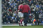 Martin Keown of Arsenal leaves injured - Blackburn Rovers v Arsenal - Premier League - Ewood Park Stadium - Blackburn - 15th March 2003<br />  - Pics Simon Bellis