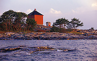 Rich early morning colours at Bogskär Light Beacon in the Archipelago Sea of Åland, Finland.
