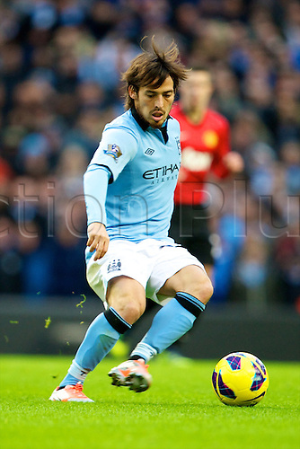09.12.2012 Manchester, England. Manchester City's Spanish midfielder David Silva in action during the Premier League game between Manchester City and Manchester United from the Etihad Stadium. Manchester United scored a late winner to take the game 2-3.