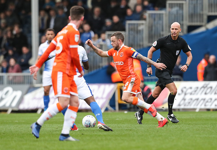 Blackpool's Jay Spearing breaks<br /> <br /> Photographer Andrew Kearns/CameraSport<br /> <br /> The EFL Sky Bet League Two - Bristol Rovers v Blackpool - Saturday 2nd March 2019 - Memorial Stadium - Bristol<br /> <br /> World Copyright © 2019 CameraSport. All rights reserved. 43 Linden Ave. Countesthorpe. Leicester. England. LE8 5PG - Tel: +44 (0) 116 277 4147 - admin@camerasport.com - www.camerasport.com