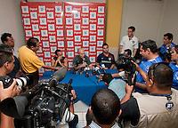 Bob Bradley, Carlos Bocanegra and Landon Donovan spoke to a packed press conference. Stadium Training prior to FIFA World Cup qualifiers USA vs El Salvador at Estadio Cuscatlán Stadium  on March 27, 2009.