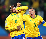 Juan celebrates with his team mates after scoring the first goal  during the 2010 FIFA World Cup South Africa Round of Sixteen match between Brazil and Chile at Ellis Park Stadium on June 28, 2010 in Johannesburg, South Africa.