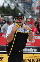 Mar. 9, 2012; Gainesville, FL, USA; NHRA official starter Mark Lyle during qualifying for the Gatornationals at Auto Plus Raceway at Gainesville. Mandatory Credit: Mark J. Rebilas-
