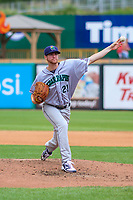 Cedar Rapids Kernels pitcher Charlie Barnes (21) delivers a pitch during a Midwest League game against the Wisconsin Timber Rattlers on August 6, 2017 at Fox Cities Stadium in Appleton, Wisconsin.  Cedar Rapids defeated Wisconsin 4-0. (Brad Krause/Four Seam Images)