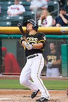 Tommy Field (12) of the Salt Lake Bees at bat against the Sacramento River Cats at Smith's Ballpark on June 6, 2014 in Salt Lake City, Utah.  (Stephen Smith/Four Seam Images)