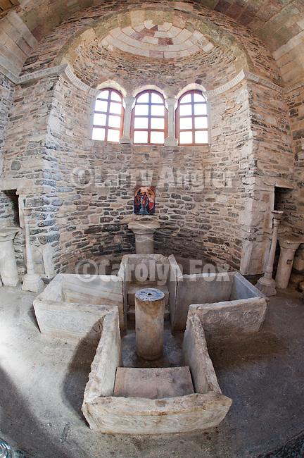 Ancient 4th century baptistery, Interior and icons, Ekatontapiliani, Church of the 100 doors, , Naoussa, Greece.