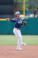 Columbus Clippers shortstop Yu Chang (6) throws to first base during a game against the Gwinnett Stripers on May 17, 2018 at Huntington Park in Columbus, Ohio.  Gwinnett defeated Columbus 6-0.  (Mike Janes/Four Seam Images)