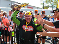 Sep 3, 2018; Clermont, IN, USA; NHRA top fuel driver Terry McMillen celebrates after winning the US Nationals at Lucas Oil Raceway. Mandatory Credit: Mark J. Rebilas-USA TODAY Sports