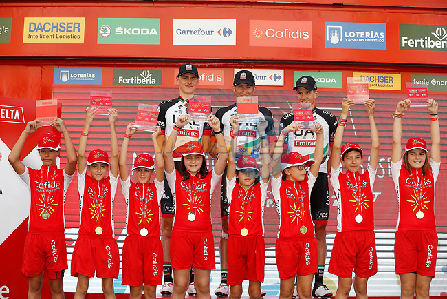 UAE Team Emirates on the podium at the end of Stage 7 of the 2017 La Vuelta, running 207km from Ll&iacute;ria-Cuenca, Spain. 25th August 2017.<br /> Picture: Unipublic/&copy;photogomezsport | Cyclefile<br /> <br /> <br /> All photos usage must carry mandatory copyright credit (&copy; Cyclefile | Unipublic/&copy;photogomezsport)