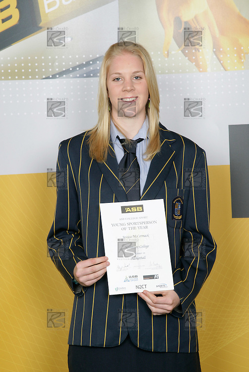 Basketball Girls Winner - Jessica McCormack. ASB College Sport Young Sportsperson of the Year Awards 2006, held at Eden Park on Thursday 16th of November 2006.<br />