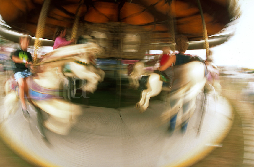 Blurred motion shot of a merry-go-round.