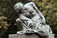 Sculpture of Moses Dreaming of Adam, 1905, by Frantisek Bilek, 1872-1941, Czech sculptor, in the small park next to the Old New Synagogue in the Jewish Quarter, Prague, Czech Republic. The historic centre of Prague was declared a UNESCO World Heritage Site in 1992. Picture by Manuel Cohen