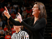 CHARLOTTESVILLE, VA- NOVEMBER 20: Head coach Joanne Boyle of the Virginia Cavaliers reacts during the game on November 20, 2011 against the Tennessee Lady Volunteers at the John Paul Jones Arena in Charlottesville, Virginia. Virginia defeated Tennessee in overtime 69-64. (Photo by Andrew Shurtleff/Getty Images) *** Local Caption *** Joanne Boyle