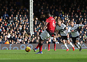 9th February 2019, Craven Cottage, London, England; EPL Premier League football, Fulham versus Manchester United; Paul Pogba of Manchester United shoots from a penalty to score his sides 3rd goal in the 64th minute to make it 3-0