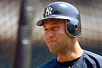17 June 2006: Derek Jeter, shortstop for the New York Yankees, awaits his turn in the batting cage prior to a game against the Washington Nationals at RFK Stadium, in Washington, DC. The Nationals overcame a seven run deficit to win 11-9 in the second game of the interleague series...Mandatory Photo Credit: Ed Wolfstein Photo...