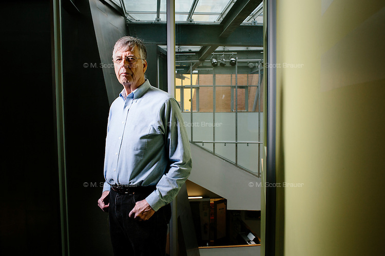 Michael Stonebraker is an adjunct professor at MIT's Computer Science and Artificial Intelligence Laboratory (CSAIL) in the STATA Center at MIT in Cambridge, Massachusetts, USA. He is a pioneer of database research and technology. He is the 2014 Turing Award winner, an award given by the Association for Computing Machinery to &quot;an individual selected for contributions of a technical nature made to the computing community.&quot; The award is considered the highest distinction in the field of computer science, akin to a Nobel Prize for the field. <br /> <br /> Image was digitally manipulated to remove reflection in window at left.