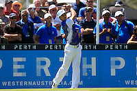 Thorbjorn Olesen (DEN) on the 10th tee during Round 1 of the ISPS HANDA Perth International at the Lake Karrinyup Country Club on Thursday 23rd October 2014.<br /> Picture:  Thos Caffrey / www.golffile.ie