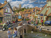 Marcello, LANDSCAPES, LANDSCHAFTEN, PAISAJES,british village,english village,puzzle, paintings+++++,ITMCEDC1108A,#L#