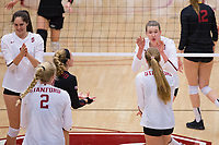 STANFORD, CA - November 15, 2017: Merete Lutz, Kathryn Plummer, Morgan Hentz, Jenna Gray, Audriana Fitzmorris at Maples Pavilion. The Stanford Cardinal defeated USC 3-0 to claim the Pac-12 conference title.