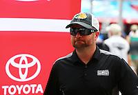 Apr 24, 2015; Baytown, TX, USA; NHRA top fuel driver Shawn Langdon during the Spring Nationals at Royal Purple Raceway. Mandatory Credit: Mark J. Rebilas-