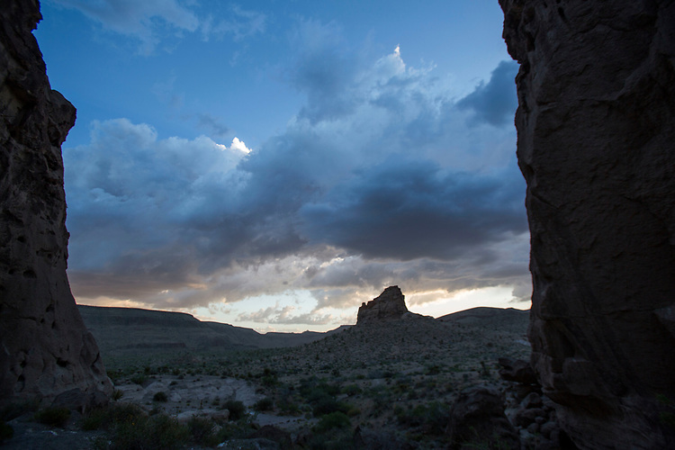 View west from Banshee Canyon on May 6, 2017 at Hole in the Wall campground in the Mojave National Preserve near Essex, California. (Gerard Burkhart Photo)