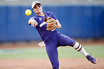 OKLAHOMA CITY, OK - JUNE 04: Sis Bates #22 of the Washington Huskies makes a play at shortstop against the Florida State Seminoles during the Division I Women's Softball Championship held at USA Softball Hall of Fame Stadium - OGE Energy Field on June 4, 2018 in Oklahoma City, Oklahoma. (Photo by Shane Bevel/NCAA Photos via Getty Images)