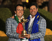 Winning captain Jose Maria Olazabal and Francesco Molinari with the Ryder Cup at the end of Sunday's singles matches at the Ryder Cup 2012, Medinah Country Club,Medinah, Illinois,USA 30/09/2012.Picture: Fran Caffrey/www.golffile.ie.