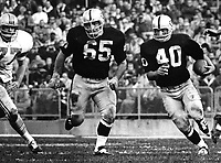 Oakland Raiders Pete Banaszak with blocking from #65 Wayne Hawkinns..(1968 photo/Ron Riesterer)