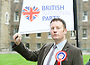 Adam Walker speaks at BNP Rally on Immigration outside Parliament, Westminster, London, Great Britain <br /> 19th October 2015 <br /> <br /> Adam walker <br /> Chairman of the BNP<br /> British National Party <br /> <br /> <br /> Photograph by Elliott Franks <br /> Image licensed to Elliott Franks Photography Services