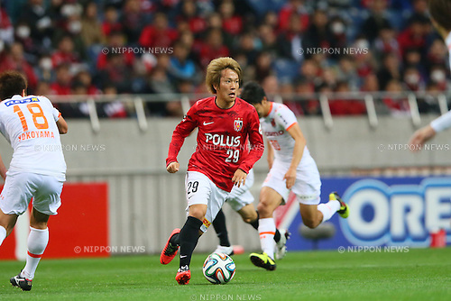 Shinya Yajima (Reds), <br /> APRIL 2, 2014 - Football /Soccer : <br /> 2014 J.LEAGUE Yamazaki Nabisco Cup <br /> between Urawa Red Diamonds 2-1 Omiya Ardija <br /> at Saitama Stadium 2002, Saitama, Japan. <br /> (Photo by YUTAKA/AFLO SPORT) [1040]