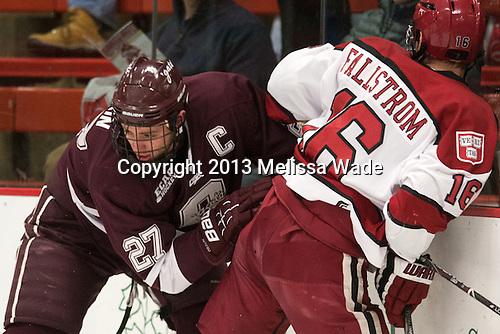 Thomas Larkin (Colgate - 27), Alex Fallstrom (Harvard - 16) - The Harvard University Crimson defeated the Colgate University Raiders 4-1 (EN) on Friday, February 15, 2013, at the Bright Hockey Center in Cambridge, Massachusetts.