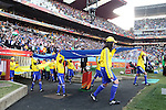 24 JUN 2010:  The FIFA flag enters the field for team introductions.  The Slovakia National Team led the Italy National Team 1-0 at half time at Ellis Park Stadium in Johannesburg, South Africa in a 2010 FIFA World Cup Group F match.