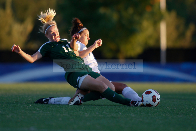 The UK women's soccer team beat Marshall University 1-0 Sunday afternoon. Midfielder Alyssa Telang scored the only goal of the day. UK midfielder Taylor Ray and Marshall defender Emma Harrison go hard after the ball. John Foster | Staff