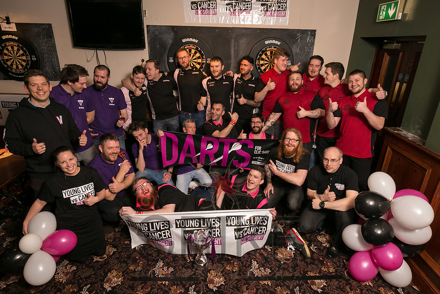 The four finalists - pubs are The Royal Oak in purple shirts, Brocket Arms in black and cream, White Ball in Black and pink and J J Moons in Red and black