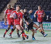 22nd March 2018, Select Security Stadium, Widnes, England; Betfred Super League rugby, Widness Vikings versus Salford Red Devils; Tyrone McCarthy clears up from behind the Salford try line as Chris Houston approaches
