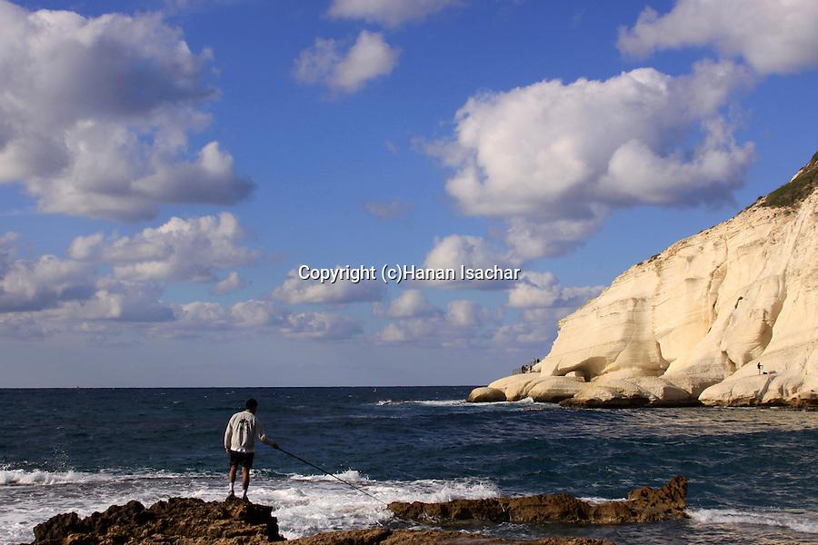Israel, Galilee Coastal Plain, fishing in Rosh Hanikra