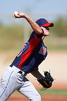 Cleveland Indians minor league pitcher Michael Peoples #46 during an instructional league game against the Cincinnati Reds at the Goodyear Training Complex on October 8, 2012 in Goodyear, Arizona.  (Mike Janes/Four Seam Images)