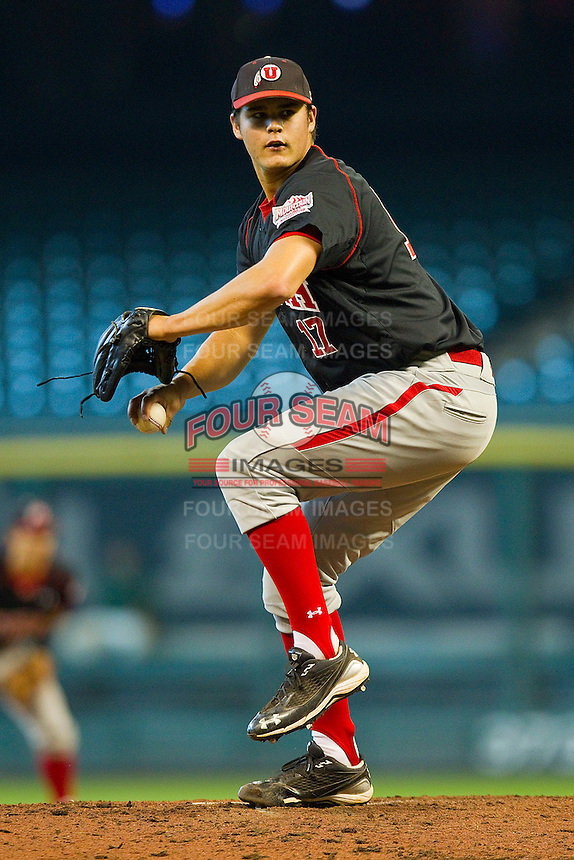 Relief pitcher Ben Mordini #17 of the Utah Utes winds up against the Baylor Bears at Minute Maid Park on March 5, 2011 in Houston, Texas.  Photo by Brian Westerholt / Four Seam Images