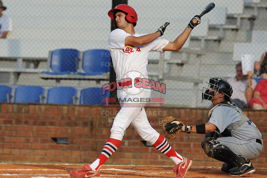 Johnson City Cardinals right fielder Gary Apelian #27 swings at a pitch during the first game of the 2011 Championship Series between the Bluefield Blue Jays and the Johnson City Cardinals at Howard Johnson Field on September 3, 2011 in Johnson City, Tennessee.  The Cardinals won the game 4-3.  (Tony Farlow/Four Seam Images)