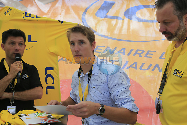 Recently retired Andy Schleck (LUX) in the Tour Village in Mondorf-les-Bains before the start of Stage 4 of the 104th edition of the Tour de France 2017, running 207.5km from Mondorf-les-Bains, Luxembourg to Vittel, France. 4th July 2017.<br /> Picture: Eoin Clarke | Cyclefile<br /> <br /> <br /> All photos usage must carry mandatory copyright credit (&copy; Cyclefile | Eoin Clarke)