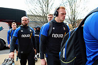 Miles Reid and the rest of the Bath Rugby team arrive for the match. Gallagher Premiership match, between Gloucester Rugby and Bath Rugby on April 13, 2019 at Kingsholm Stadium in Gloucester, England. Photo by: Patrick Khachfe / Onside Images