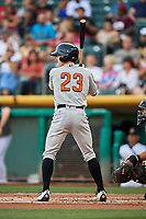 Drew Ferguson (23) of the Fresno Grizzlies bats against the Salt Lake Bees at Smith's Ballpark on September 3, 2017 in Salt Lake City, Utah. The Bees defeated the Grizzlies 10-8. (Stephen Smith/Four Seam Images)
