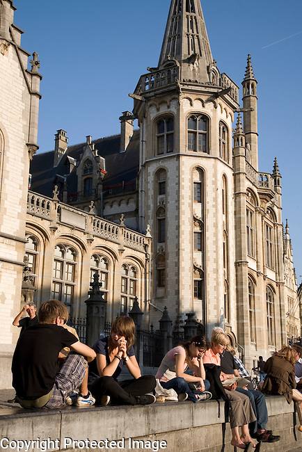 Canal bank in Ghent, Belgium, Europe