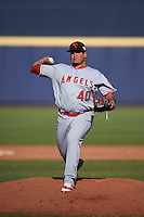 Scottsdale Scorpions pitcher Eduardo Paredes (40), of the Los Angeles Angels of Anaheim organization, during a game against the Peoria Javelinas on October 22, 2016 at Peoria Stadium in Peoria, Arizona.  Peoria defeated Scottsdale 3-2.  (Mike Janes/Four Seam Images)